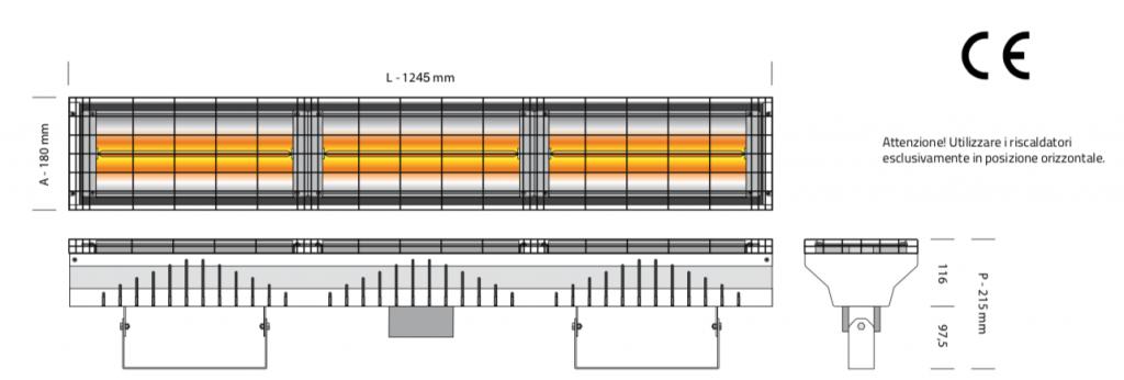 riscaldatore infrarossi onda corta 6000w altezza