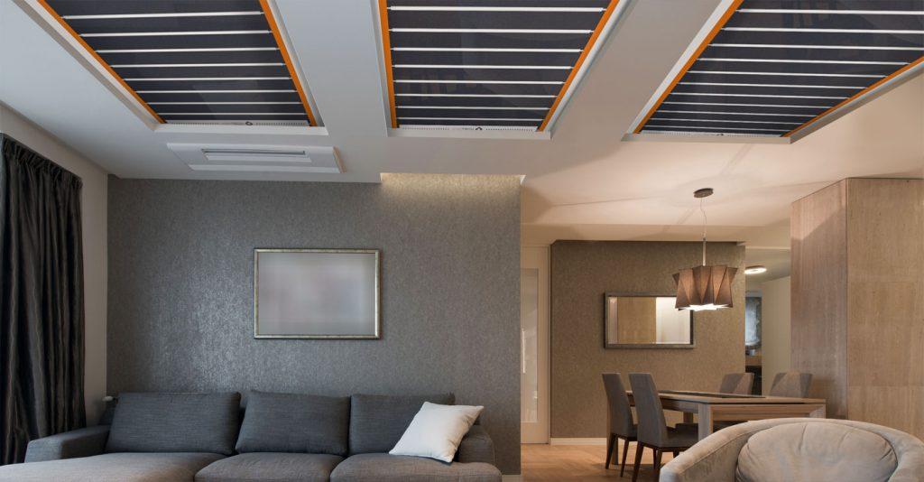 riscaldamento radiante soffitto o parete stanza riscaldata infrarossi